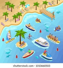 Sea beach vacation isometric composition with tropical landscape and people sunbathing sailing surfing and banana boating  illustration