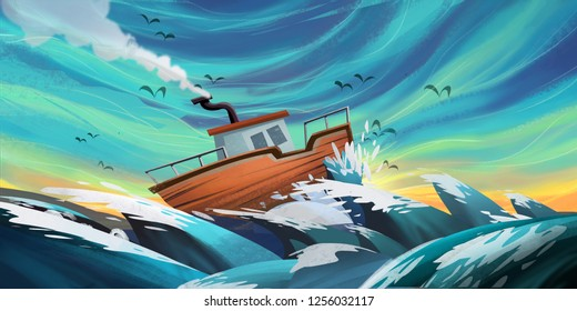 Sea, Boat and Hope. Fiction Backdrop. Concept Art. Realistic Illustration. Video Game Digital CG Artwork. Nature Scenery.