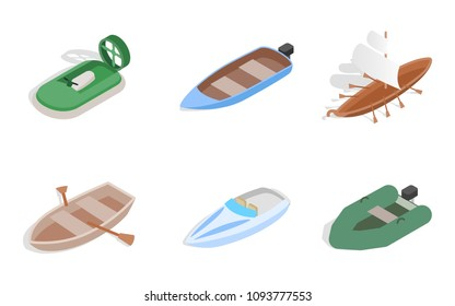 Sea boat icon set. Isometric set of sea boat icons for web isolated on white background