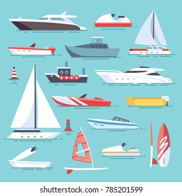 Sea boats and little fishing ships. Sailboats flat icons. Set of water transport boat and vessel, tugboat and motorboat illustration