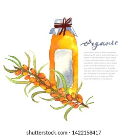 sea buckthorn on white background. Illustration of a glass with fruits, smoothies, juice of sea buckthorn. organic vegan.Designed to create package of health, beauty natural products.