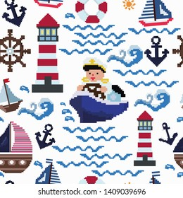 sea captain holds the helm ,lighthouse lights the way,yachts sail through the waves, splashes and drops, lifebuoy,striped sail