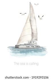 Sea catamaran in the ocean and seagulls. Watercolor card postcard Sea is calling. Hand drawn illustration