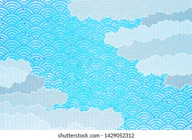 Sea of clouds Japanese paper summer background