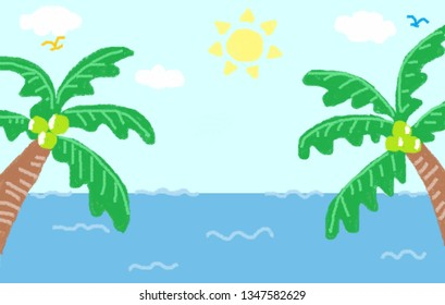 Sea with coconut tree from both side. Painting by crayon color. Summer concept.
