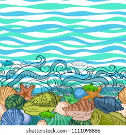 Sea Exotic Pattern, Seashells, Fishes, Starfish Colorful and Contours on a Blue and Green Wave Background.