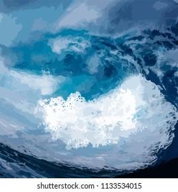 Sea foam during storm.