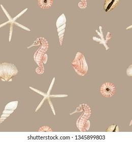Sea gifts, seahorse, seashell, starfish, watercolor pattern