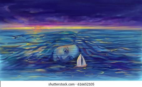 Sea Goddess pushing and caring sailboat at sunset