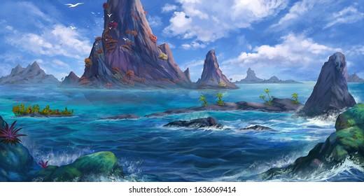 Sea Island, Mountain. Fantasy Backdrop. Concept Art. Realistic Illustration. Video Game Digital CG Artwork Background. Natural Scenery.