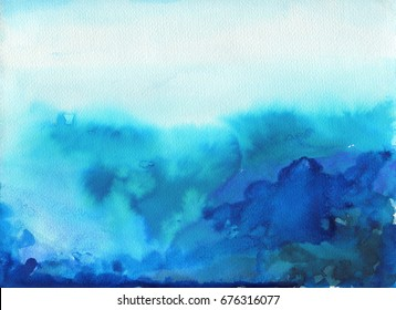 Sea landscape. Beautiful watercolor hand painting illustration.