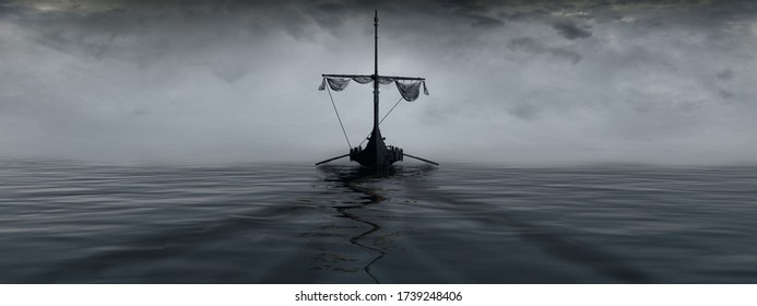 Sea landscape with a Viking ship in the fog. 3D illustration.