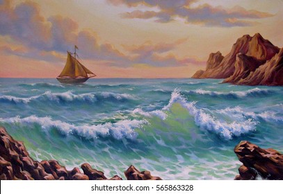 Sea landscape with a yacht in a storm, oil on canvas