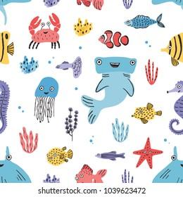 Sea life seamless pattern. Hand drawn algae, blowfish, puffer, crab, hammerhead shark, whale, starfish, shark seahorse manta ray Colorful illustration texture
