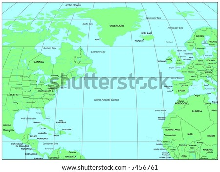Sea Maps Series North Atlantic Ocean Stockillustration 5456761 ...