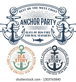 Sea nautical composition with anchors in retro style.