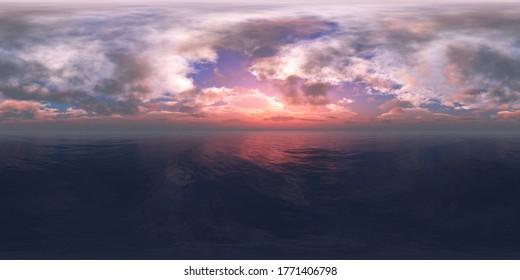 sea panorama, HDRI, environment map , Round panorama, spherical panorama, equidistant projection, 360 high resolution panorama  3d rendering,