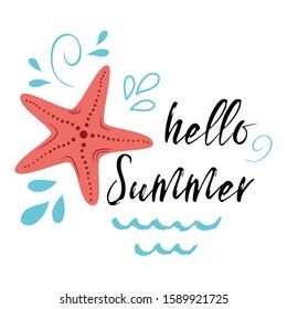 Sea poster with sea star fish phrase Hello summer, wave, seastar typographic banner inspirational quote. Card for summer time, vacation. Cute print, label, logo, sticker, stamp, sign, badge