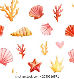 Sea Seamless pattern, background with seashells, Seastar and corals, watercolor drawing