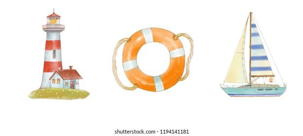 Sea set of watercolor illustrations yacht, lifeline. lighthouse. Cartoonish cute  style.