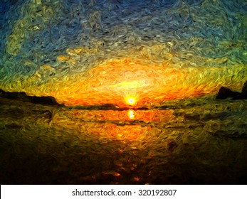 sea sunrise or sunset, clouds and sea waves, impressionism oil painting, brush drawing beautiful view landscape, sketch or Van Gog style, mixed styles painting, hand drawn  sea view horizon