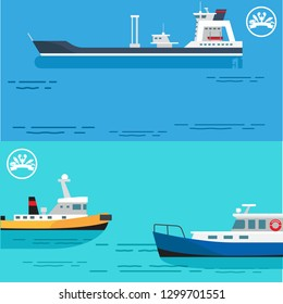 Sea transportation and fishing boat advertisement with transport and small hunting ships in sea. raster illustration with boats contains room for text content
