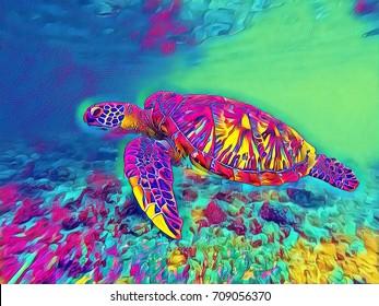 Sea turtle in open sea water digital illustration. Vivid underwater landscape of tropical lagoon. Sea turtle fantastic poster in neon colors. Tropic seashore wildlife. Marine animal green turtle