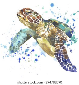 sea turtle T-shirt graphics, sea turtle illustration with splash watercolor textured background. unusual illustration watercolor sea turtle for fashion print, poster for textiles, fashion design