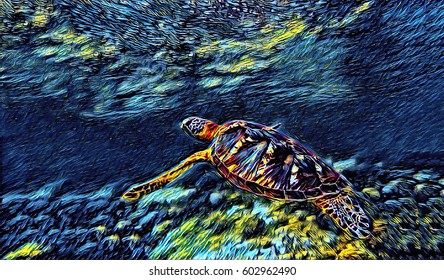 Sea turtle in water. Green turtle swims underwater blue and yellow digital illustration. Seashore animal on sea bottom. Sea turtle in seawater. Oceanic fauna abstract image. Undersea wildlife in shore