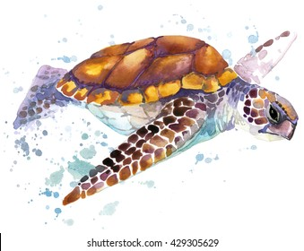 Sea turtle watercolor illustration. Underwater word