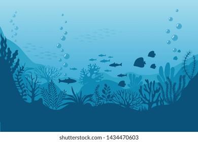 Sea underwater background. Ocean bottom with seaweeds. marine scene. Ocean scene, sea underwater, undersea life on bottom illustration