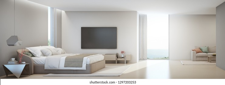 Sea view bedroom and living room of luxury summer beach house with double bed near wooden cabinet. TV on white wall in vacation home or holiday villa. Hotel interior 3d illustration.