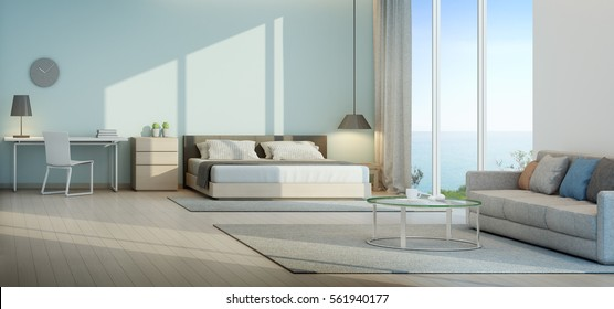 Sea view bedroom and living room in luxury beach house - 3D rendering
