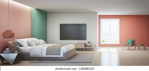Sea view bedroom and pink living room of luxury summer beach house with double bed near wooden cabinet. TV on white wall in vacation home or holiday villa. Hotel interior 3d illustration.