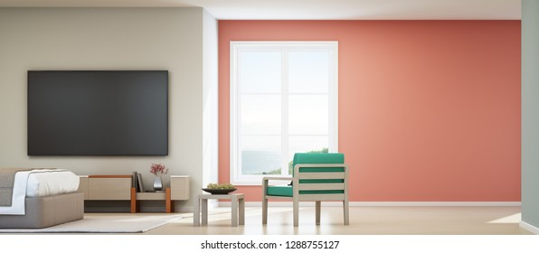 Sea view bedroom and pink living room of luxury summer beach house with bed near wooden cabinet. TV on white wall background in vacation home or holiday villa. Hotel interior 3d illustration.