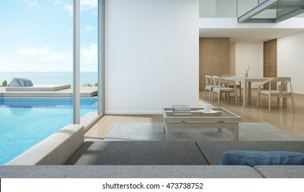 Sea view dining and living room in modern pool house - 3D rendering