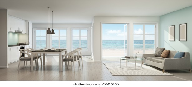 Sea view dining, living room and kitchen in beach house - 3D rendering
