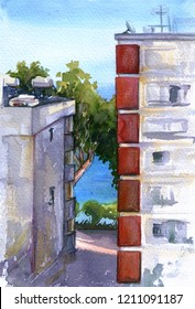 Sea view from hotel window. Water, trees, blue sky and buildings. Cyprus coast. Watercolor sketch illustration