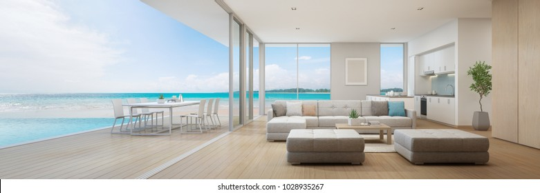 Sea view kitchen, dining and living room of luxury beach house with terrace near swimming pool in modern design. Vacation home or holiday villa for big family. Interior 3d illustration