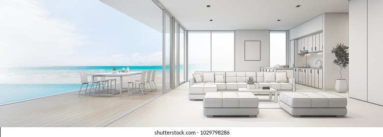 Sea view kitchen, dining and living room of luxury beach house with terrace near swimming pool in modern design. Vacation home or holiday villa for big family. Interior 3d illustration sketching.
