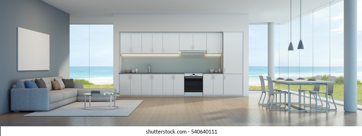 Sea view kitchen, dining and living room in beach house - 3D rendering