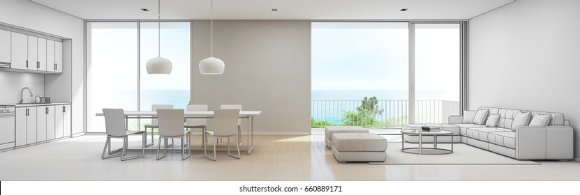 Sea view kitchen, dining and living room of luxury beach house, Sketch design of modern vacation home for big family - Interior 3d rendering