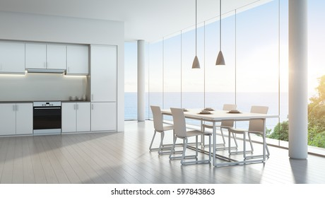 Sea view kitchen and dining room in luxury vacation home with modern white interior design - 3D rendering