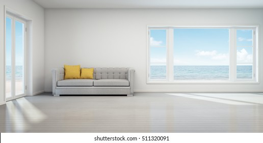 Sea view living room, Beach house with white vintage interior - 3D rendering