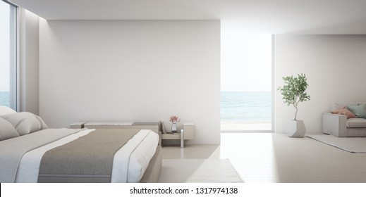 Sea view living room and bedroom of luxury summer beach house with TV stand near double bed. Empty white concrete wall background in vacation home or holiday villa. Hotel interior 3d illustration.