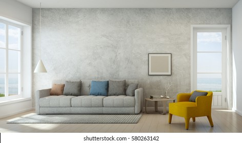 Sea view living room with concrete wall in modern beach house, Luxury interior of vacation home - 3D rendering