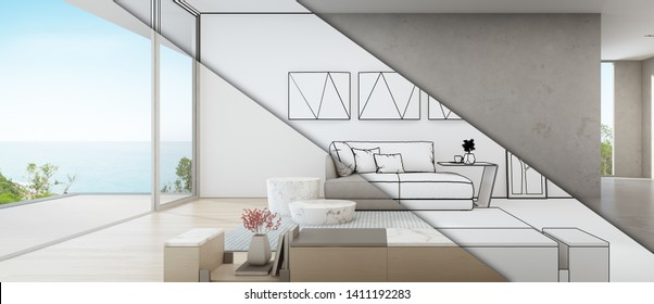 Sea view living room of luxury summer beach house with large glass door near wooden terrace. TV stand against gray sofa in vacation home or holiday villa. Hotel interior 3d illustration.