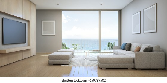 Sea view Living room with terrace in modern luxury beach house, Vacation home for big family - Interior 3d rendering