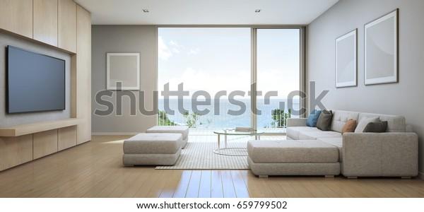Sea View Living Room Terrace Modern Stockillustration 659799502