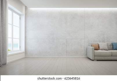 Sea view living room with wooden floor and concrete wall background in modern beach house, White interior of vacation home - 3D rendering